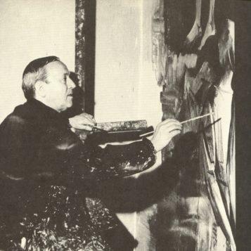 Oscar di Prata - 1952 - Al lavoro su un affresco